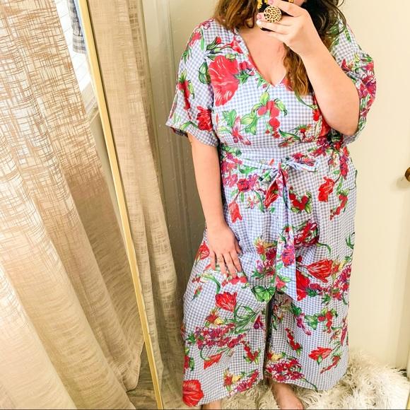 Shein Checker Print Floral jumpsuit plus size 3XL